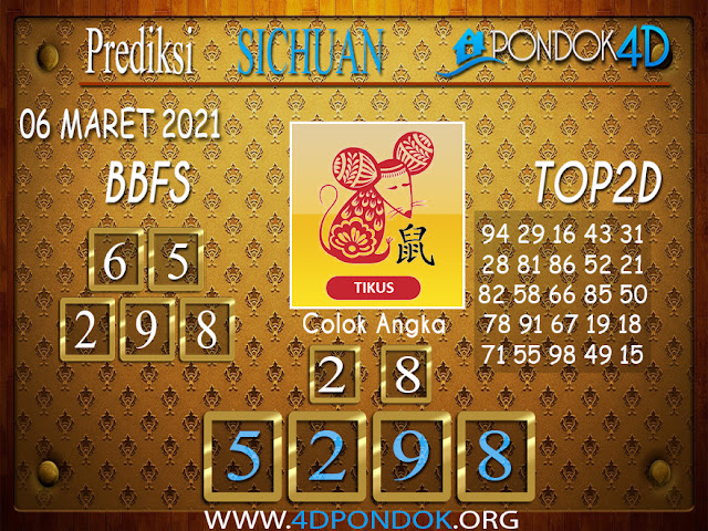 Prediksi Togel SICHUAN PONDOK4D 06 APRIL 2021
