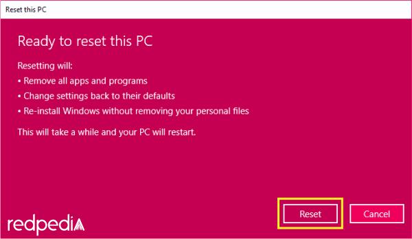 Konfrmasi terakhir untuk melakukan reset Windows