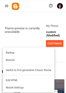 Use Theme Tab in New Blogger Interface