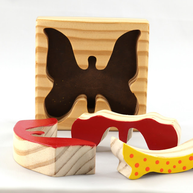 Handmade Wooden Toy Tray Puzzle, Colorful Red, Orange, & Yellow Butterfly, Very Easy To Assemble, Finished Acrylic Paint and Amber Shellac