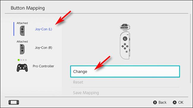حدد وحدة التحكم لتغيير التعيين على Nintendo Switch