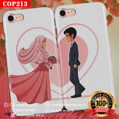 Gambar kartun vektor pernikahan islami menikah muslimah COP213