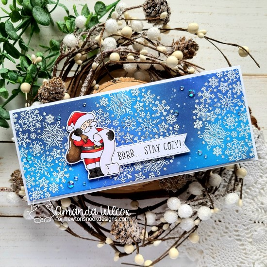 Stay Cozy Santa and Snowflakes Slimline Card by Amanda Wilcox | Snowfall Roundabout Stamp Set, Banner Trio Die Set, Dear Santa Stamp Set and coordinating Die Set by Newton's Nook Designs #newtonsnook #handmade