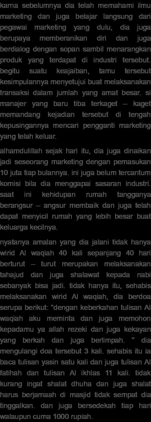 Kisah Nyata Khasiat Surat Al Waqiah Untuk Melancarkan