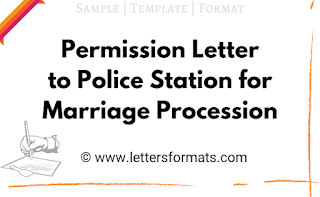 Permission Letter to Police Station for Marriage Procession