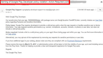 cara mengatasi policy violation app android