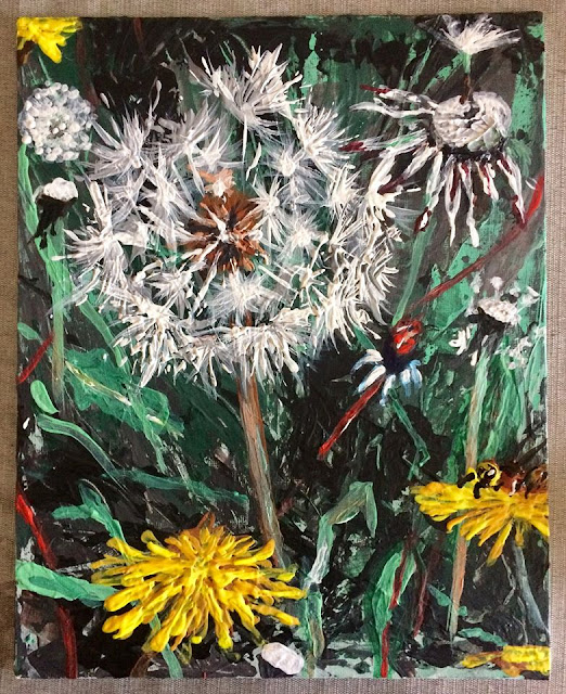 peinture de pissenlits, oeuvre de Karine Babel
