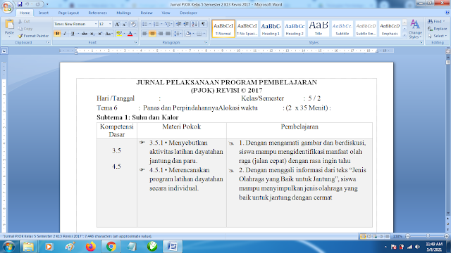 Contoh Format Jurnal Harian PJOK Kelas 5 SD Semester 2 k13 Revisi Terbaru