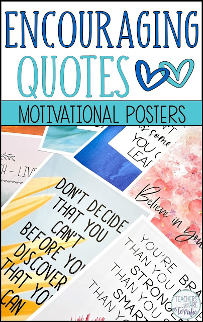 This is a gorgeous set with 18 motivational posters- all with words of encouragement. These would be perfect as a bulletin board display in your classroom, an inspiring display in your faculty workroom, or framed and sitting on your own desk.