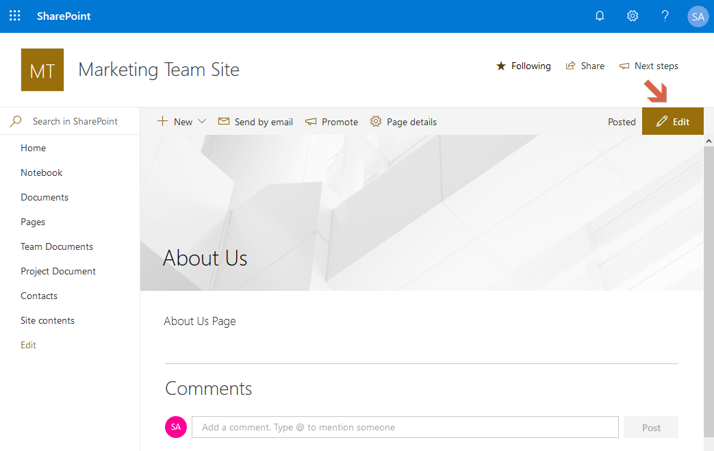 sharepoint online add banner image