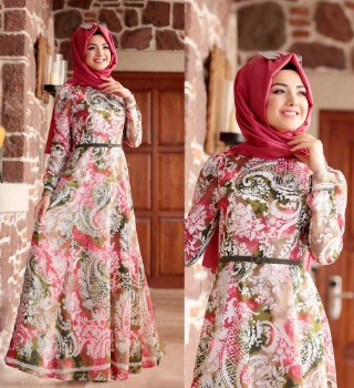 Koleksi model gamis batik remaja kombinasi modern terbaru Model baju gamis batik muslimah terbaru