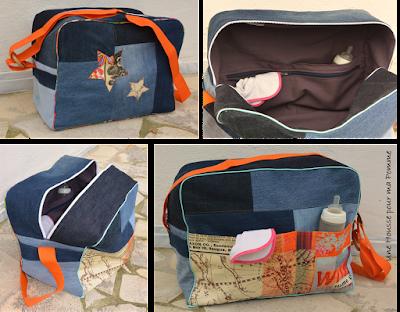 Grosse capacité, 45 x 35 x 25 cm. Fait de pans de jeans recyclés montés façon patchwork, passe poil tout au tour du sac turquoise et en rappel du tissu vintage, 2 poches extérieures en coton imprimé vintage et vieux papiers, fermeture éclair blanche extérieure, les deux cotés du sac sont différents, l'un monté horizontalement alors que l'autre est cousu verticalement, anse orange en nylon maintenue par un anneau en bois. Intérieur en coton violet avec 3 poches dont une à zip bleu marine.