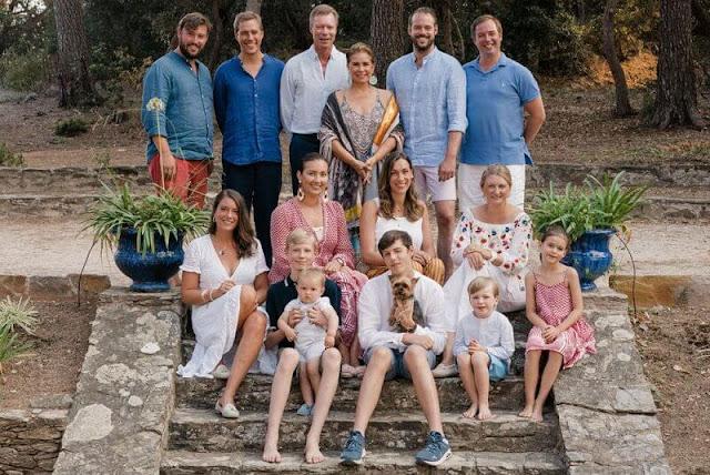 Grand Duke Henri, Maria Teresa, Princess Stephanie, Prince Charles, Princess Alexandra. Princess Claire in Young Empire dress