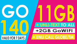 Globe Go140 – 11GB Data + Unli Text to All, Globe/TM Calls for 7 Days