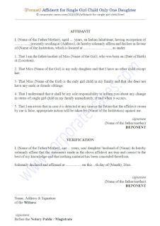 affidavit format for single girl child