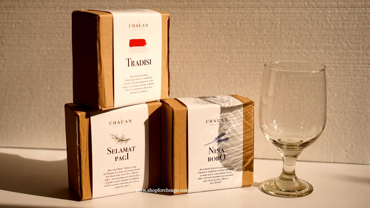 tiga varian chauan tea dalam kemasan box kecil
