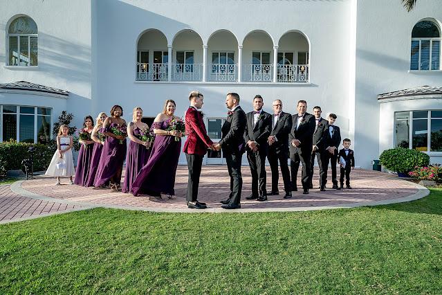 Wedding Party Portraits outside the Mansion at Tuckahoe Jensen Beach FL Wedding Venue