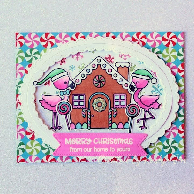 Sunny Studio Stamps: Jolly Gingerbread Fabulous Flamingos Customer Christmas Themed Card by Roslyn Jin