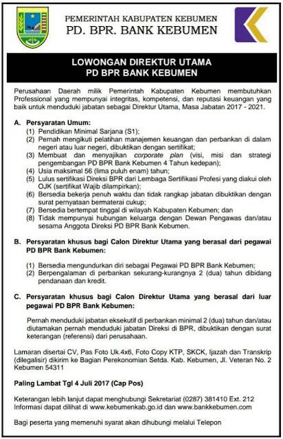 Lowongan Direktur Utama PD BPR Bank Kebumen, Min S1