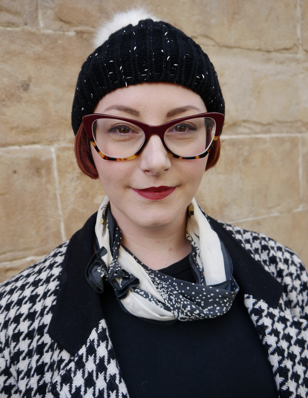 Styled by Helen, Scottish blogger, Wardrobe Conversations, Dundee blogger, winter outfit, winter style, dressing for winter, monochrome outfit, monochrome street style, winter accessories, Tiger, charity shop find, clashing patterns, black and white outfit, Spex Pistol glasses, statement glasses