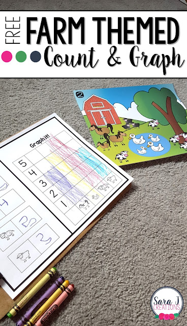 Free farm themed count and graph activity is the perfect introduction to graphing for preschool and kindergarten.