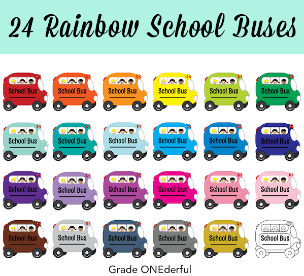 Rainbow school bus clipart set