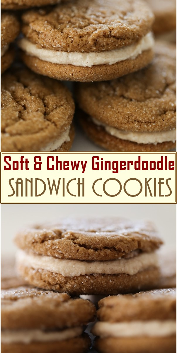 Soft & Chewy Gingerdoodle Sandwich Cookies #cookiesrecipes