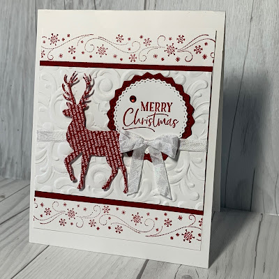 Deer Christmas Card with snowflake borders