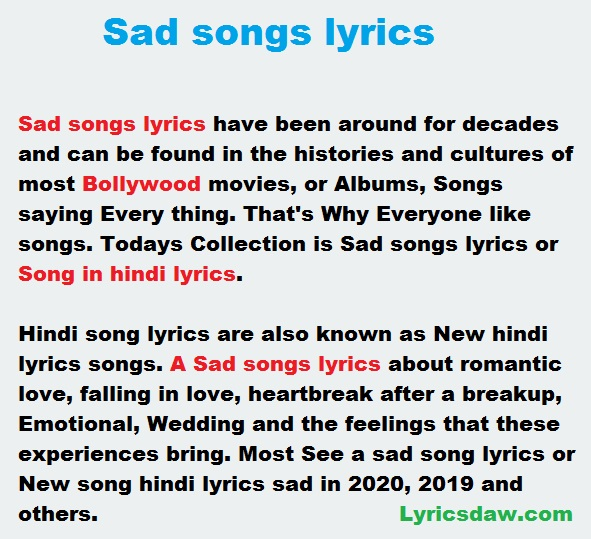 Sad Songs In Hindi Lyrics