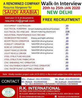 Free Recruitment for a Renowned Company in KSA