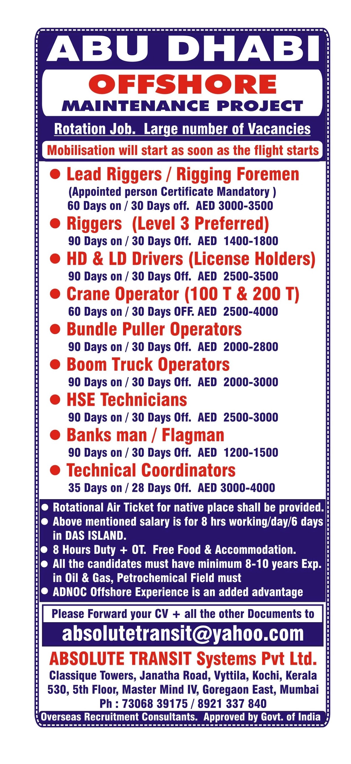 ADNOC Project Recruitment Rigger, Foreman, Drivers, Crane Operators  and More For Abu Dhabi Location