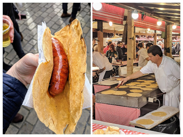 What to eat in Bilbao in winter: talos con chorizo