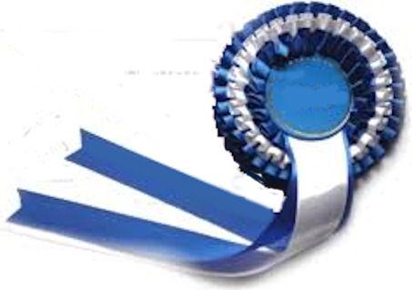 Sertifikaatti; sinivalkoisin nauhoin. Väri kertoo kyseessä olevan EH = erittäin hyvä.