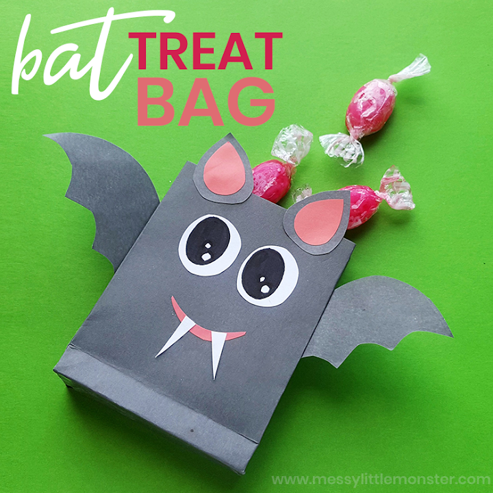 treat bag bat craft - Halloween bat crafts for kids