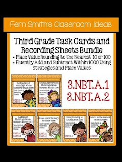 Fern Smith's Classroom Ideas Third Grade Math - Unit One Task Cards with Common Core at TeacherspayTeachers.
