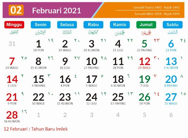 Kalender Bulan Februari 2021 dan Hari Peringatannya