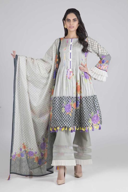 Bonanza Satrangi lawn suit white & purple color