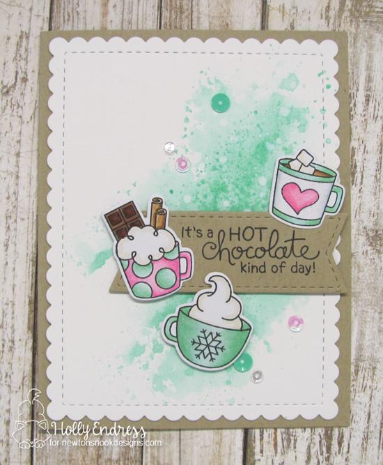Hot chocolate Card by Holly Endress | Cup of Cocoa Stamp set and Frames & Flags Die Set by Newton's Nook Designs #newtonsnook #handmade