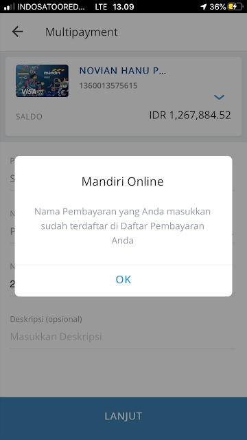 Mandiri Online Pembayaran Gagal Nama Pembayaran Sudah Terdaftar