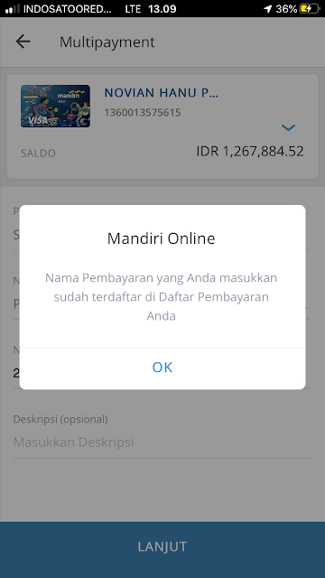 Nama Pembayaran Yang Anda Masukkan Sudah Terdaftar Di Daftar Pembayaran Anda