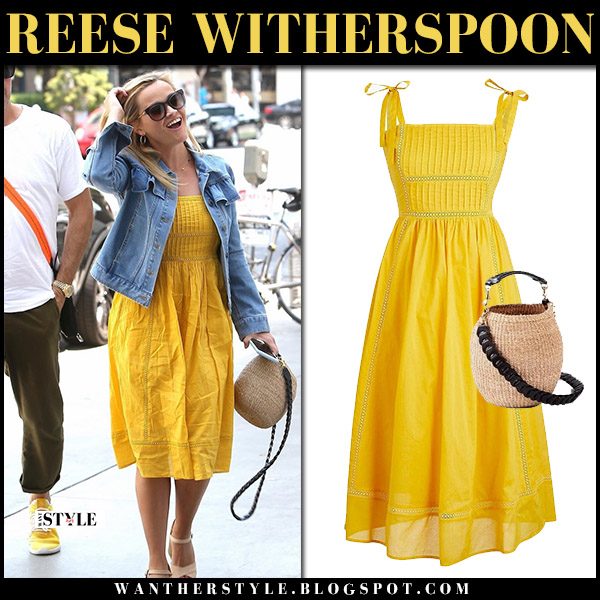 Reese Witherspoon in yellow dress j.crew and denim jacket draper james summer hollywood style august 4
