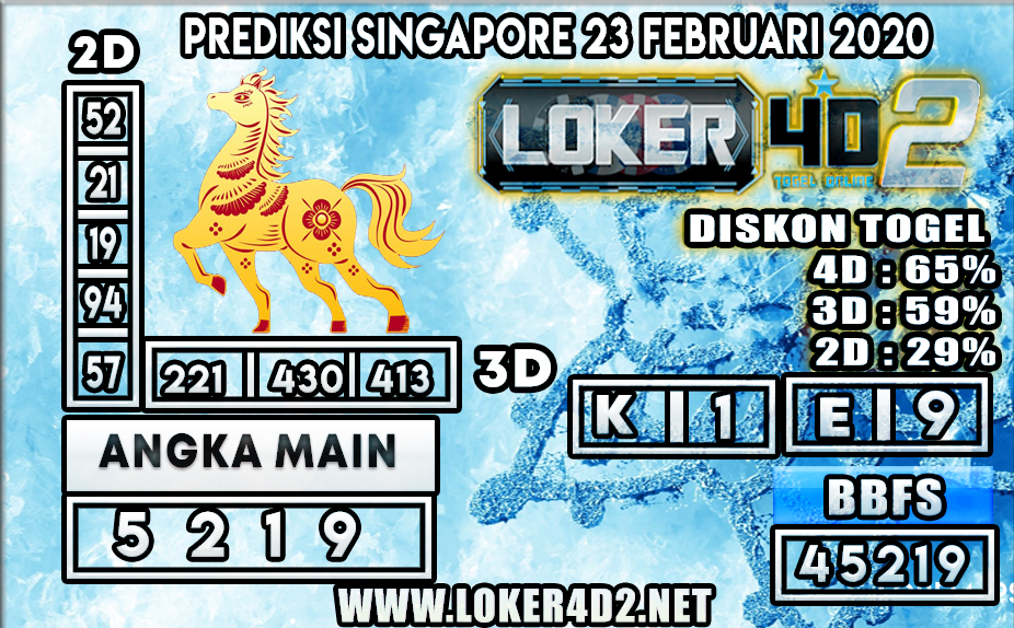 PREDIKSI TOGEL SINGAPORE LOKER4D2 23 FEBRUARI 2020