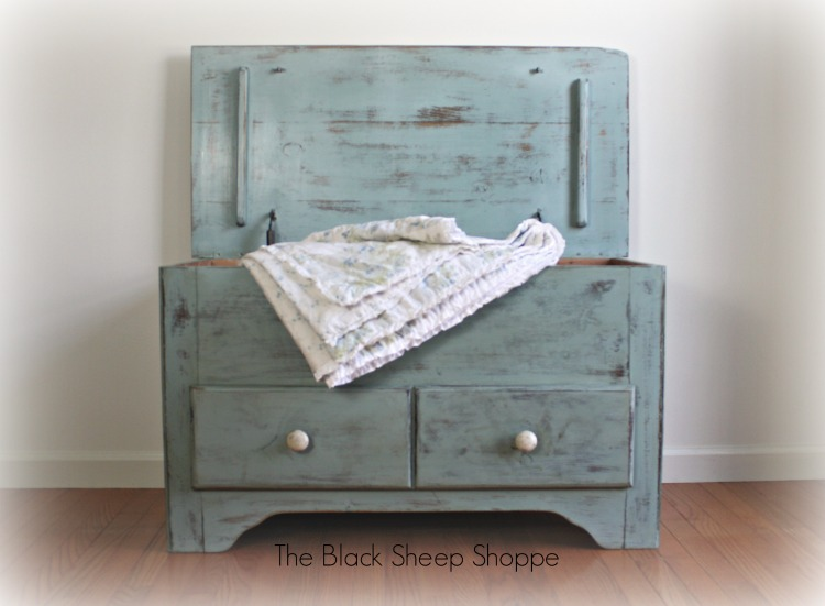 Extra storage is in the top portion of the blanket chest (painted in Duck Egg blue).