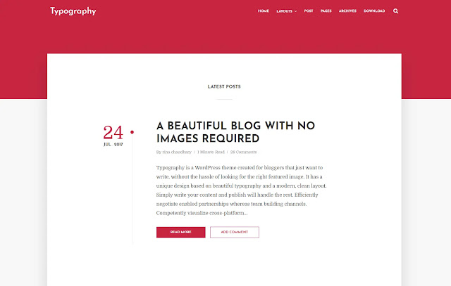 Typography Responsive Simple Minimalist Personal Blog Classic Clean Journal Blog Blogger Template Theme