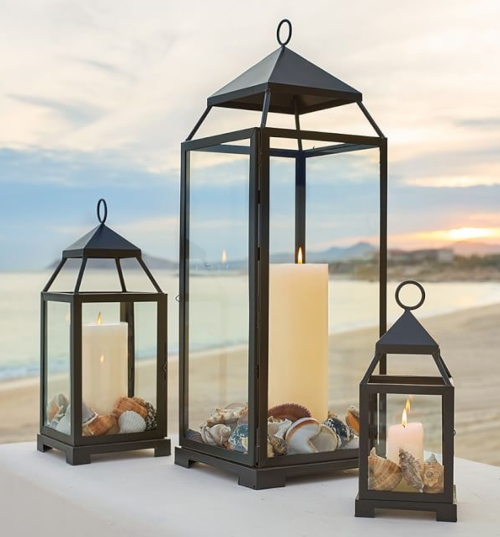 Coastal Nautical Candle Lanterns Outdoors Indoors