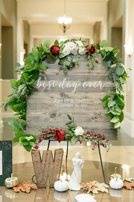 wedding sign and props