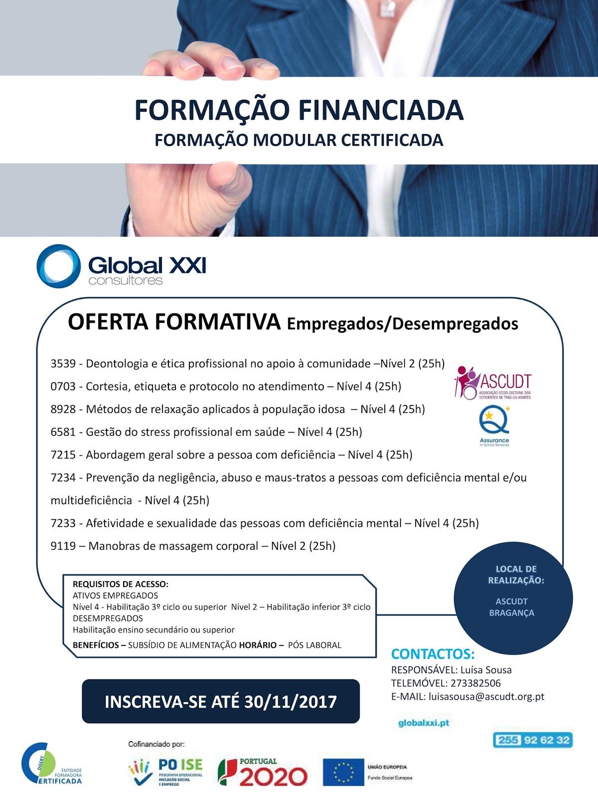 Formação financiada e certificada – Bragança