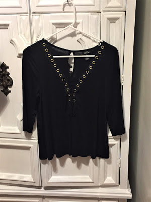 rue21 gold o-ring quarter sleeve crop