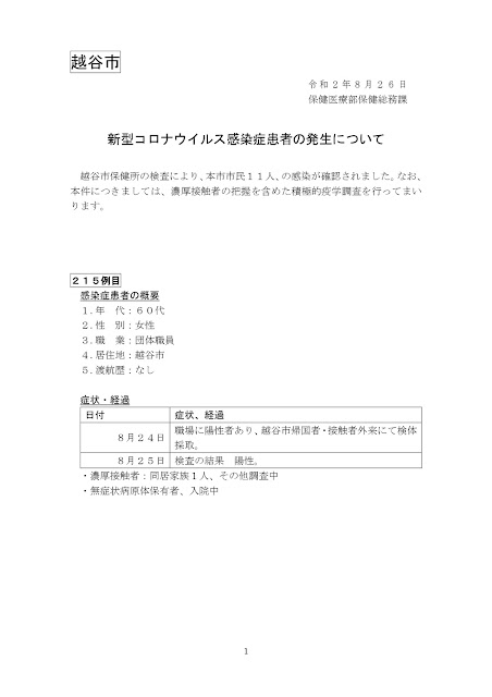 新型コロナウイルス感染症患者の発生について(8月26日発表)