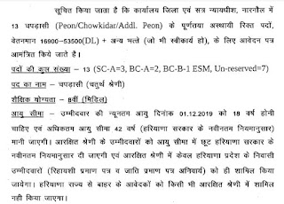 Narnaul District Court Peon/Chowkidar Recruitment 2019-20 Interview Questions